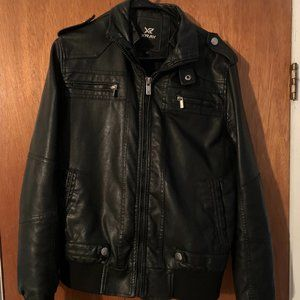 Hot Topic XRAY Faux Leather Bomber Jacket Black